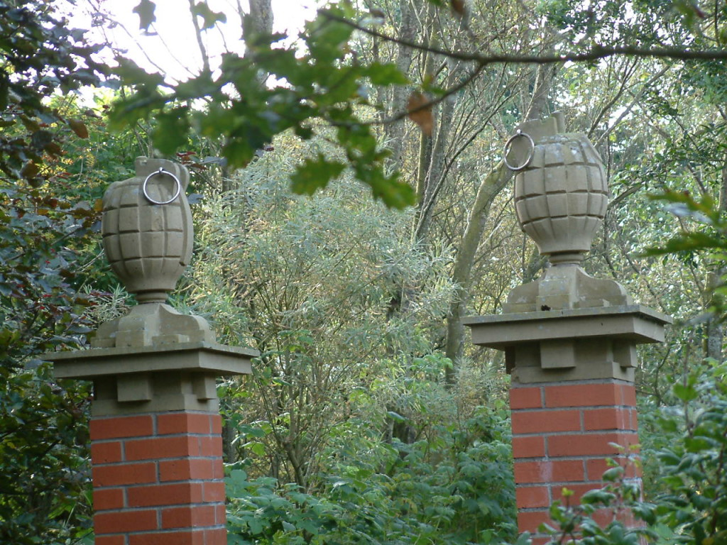 Two grenades top the entrance posts to Little Sparta, Ian Hamilton Finlays garden in the Scottish borders
