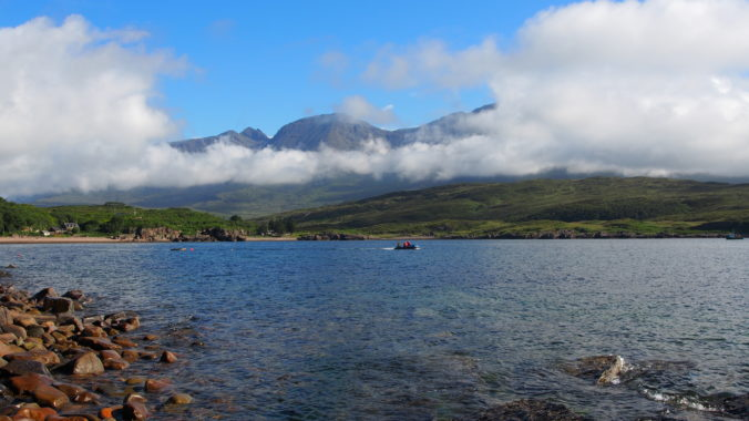 View of cloud-fringed Cuillins of Skye, from Soay, photograph by Jemma Cholawo