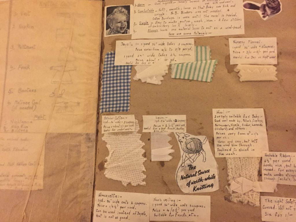Samples of material and handwritten notes explaining how to make baby gowns