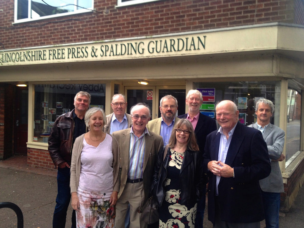 Reunion outside Spalding Guardian office