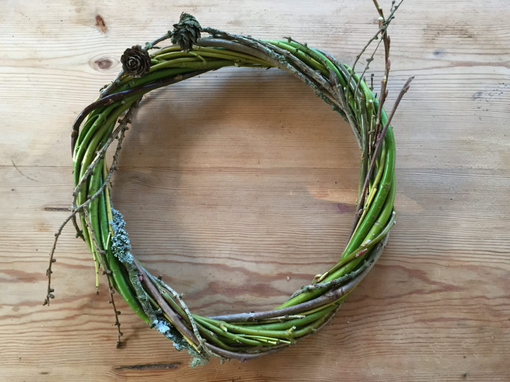 More a heart shape than a circle, larch combined with green dogwood