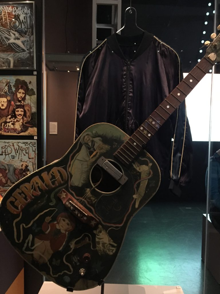 Gerry Rafferty's guitar decorated with John Byrne paintings