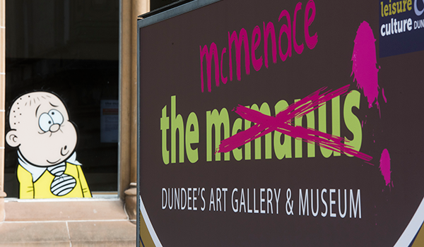 Bash Street Kid stares in bewilderment at the mcmenace – part of the highly successful advertising campaign for the record breaking exhibition in 2018